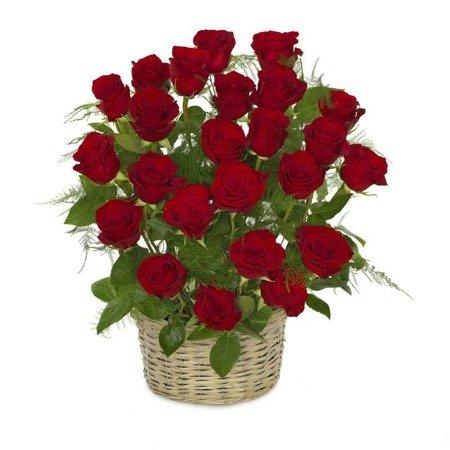Kosz 24 róż czerwonych